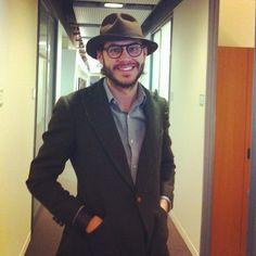 "Justin Doss rockin' Ikiré Jones' ""Dumilé"" at the GQ Office"