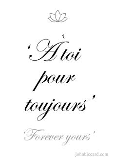♔ Forever yours Beautiful French Phrases, Common French Phrases, French Love Quotes, French Words, Spanish Quotes, How To Speak French, Learn French, Study French, One Word Quotes