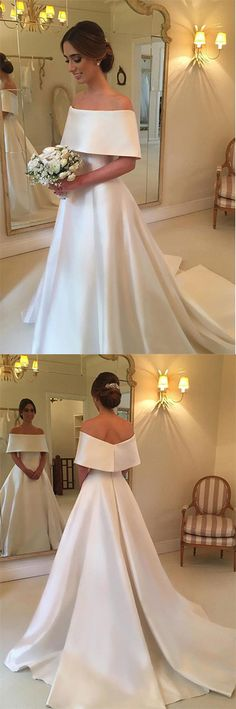 Simple Satin A-line Off the Shoulder Ivory Cheap Bridal Gown, Wedding Dresses PH577 #ivory #weddingdress #bridaldress #simple #offtheshoulder #satin