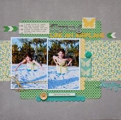 Flying Like An Airplane Layout by Pam Brown via Jillibean Soup Blog