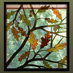 Beautiful glass art ::Mama would have loved this stained glass window…Fall was her favorite season and her colors….for so many things. Faux Stained Glass, Stained Glass Designs, Stained Glass Panels, Stained Glass Projects, Stained Glass Patterns, Leaded Glass, Broken Glass Art, Sea Glass Art, Shattered Glass
