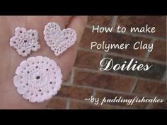 Here's how to make polymer clay doilies! I had to rush the editing, so there are a couple mistakes in there. Polymer Clay Canes, Polymer Clay Creations, Diy And Crafts, Arts And Crafts, Play Clay, Cute Clay, Clay Design, Miniature Crafts, Porcelain Clay