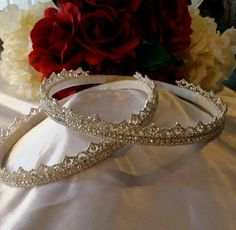 STEFANA, Crown, Greek Orthodox, VINTAGE Style, Wedding, Bridal, Sterling Silver Plated, Swarovksi Crystals, GORGEOUS