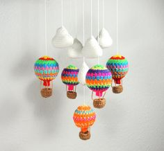 Hot Air Balloon Mobile Clouds Crochet Nursery by SimplyStitcheduk
