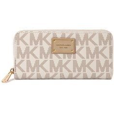 Womens Wallets Michael Kors Cream Monogrammed Wallet ($190) ❤ liked on Polyvore featuring bags, wallets, zip coin wallet, pink wallet, coin bag, michael kors wallet and monogrammed bags