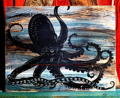 Octopus Upcycled Pallet Art  Unique & One Of A Kind by CryptobioticDesigns