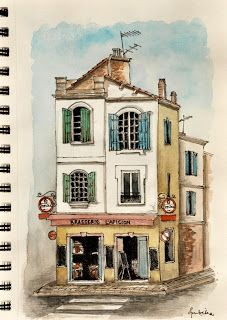 Watercolor sketch of Cafe in Arles, Provence, France