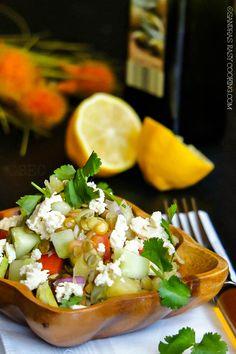Easy and Healthy Salad with Lentils #recipe #salad   sandraseasycooking.com
