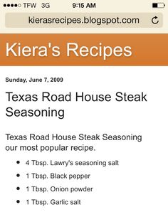 Texas Roadhouse steak seasoning - My new default steak seasoning. Especially since the recipe makes so much. It's enough for at least ten steaks. Dry Rub Recipes, Sauce Recipes, Rib Recipes, Steak Recipes, Homemade Spices, Homemade Seasonings, Gordon Ramsay, Grilling Recipes, Cooking Recipes