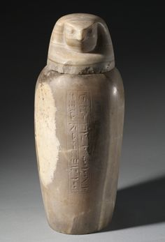 Canopic Jar with Falcon's Head, 664-525 BC. Egypt, Late Period, Dynasty 26.