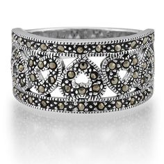 Sterling Silver Marcasite Ring in Heart Style from Berricle - Price: $36.99