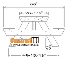 8 Foot Picnic Table Plans | DIY Projects - Construct101 Folding Picnic Table Plans, Diy Picnic Table, Camping Table, Diy Wood Projects, Furniture Projects, Palette Diy, Outdoor Furniture Plans, Pocket Hole Screws, Diy Bench