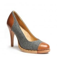 Mrs. Smith shoe in wool and tan from the Office of Angela Scott's fall line.