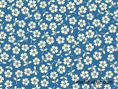 Sea Side Floral Cotton Fabric Blue