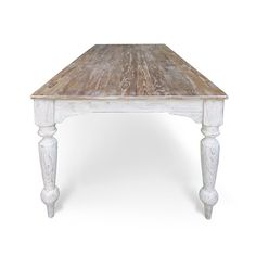 Our Layla Belle Farmhouse Table is a true reproduction inspired by 19th-century Old New Orleans Farmhouse tables found in typical French quarters manners of the period. Its Crafted by hand of Solid Old Growth Douglas Fir, and features a long, planked top and hand turned spindle legs. Shown in a Textured Hand Rubbed Natural Top with bits of white paint still hanging on and our Washed Antique White finish. Please feel free to contact us with any questions you may have at 951-387-9742. 36 x 72…