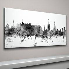 edinburgh skyline cityscape monochrome art print by artpause   notonthehighstreet.com