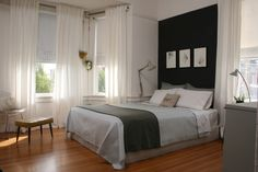 one dark wall. Rosa's Stylish Collection Bedroom My Bedroom Retreat Contest Bedroom Retreat, Bedroom Inspo, Home Decor Bedroom, Modern Bedroom, Stylish Bedroom, Bedroom Inspiration, Bedroom Ideas, Master Bedroom, Floor To Ceiling Curtains