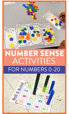 Number Sense in Kindergarten and First Grade Tons of hands-on number sense activities, games, and lessons for kindergarten and first graded!Tons of hands-on number sense activities, games, and lessons for kindergarten and first graded! Number Sense Activities, Number Sense Kindergarten, First Grade Activities, Kindergarten Centers, First Grade Math, Preschool Activities, Grade 1, Learning Numbers Preschool, Math For Kids