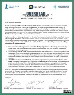 We joined Charity Navigator BBB Wise Giving Alliance in pledge to end the #OverheadMyth and work towards the Overhead Solution, an effort to provide donors with information about our results! Read the letter from respective Presidents and CEOs Jacob Harold, Ken Berger, and Art Taylor, and spread the word: www.overheadmyth.com. #Nonprofits can share the letter for their own purposes, since it's under a Creative Commons license.