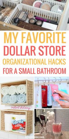 These are the best dollar tips I have seen! If you have a small bathroom like me, you have to check these out! ideas for small spaces Dollar Store Organization Hacks for a Small Bathroom - By Sophia Lee Organisation Hacks, Organizing Hacks, Diy Organization, Organization Ideas For The Home, Organizing Your Home, Dollar Tree Organization, Small Bathroom Organization, Organizing Small Bedrooms, Decorating Small Bathrooms