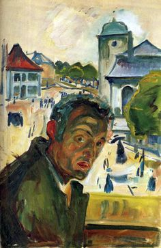 """EDVARD MUNCH – Modernist in his context, Munch could be also considered the first expressionist painter in history. Works like """"The Scream"""" are vital to understanding the twentieth century painting. / Self Portrait in Bergen / 1916 Edvard Munch, Post Impressionism, Art Moderne, Wassily Kandinsky, Gustav Klimt, Bergen, Famous Artists, Painting & Drawing, Art History"""