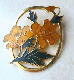 Vintage, large, cloisonne enamel, yellow flower, cutaway brooch by designer Fish and Crown.