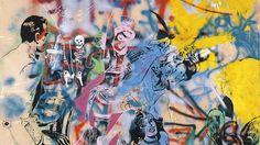 """""""Hochzeitsbild"""" heißt die mehrschichtige Arbeit (1977, Sprühlack auf Papier und Leinwand kaschiert) von Memphis Schulze, Sigmar Polke und Hochzeitsgästen, die in Düsseldorfs Kunsthalle zu sehen ist."""