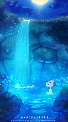 """""Snoopy with a Waterfall"""" Snoopy The Dog, Snoopy Love, Charlie Brown And Snoopy, Snoopy And Woodstock, Snoopy Wallpaper, Cartoon Wallpaper, Wallpaper Space, Snoopy Comics, Peanuts Cartoon"