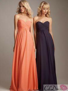 Sheath Sweetheart Satin and Chiffon Floor-Length Bridesmaid Dresses $99