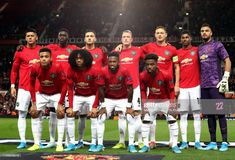 The Manchester United team lineup ahead of the UEFA Europa League Group L match at Old Trafford, Manchester. Get premium, high resolution news photos at Getty Images Manchester United Team, Manchester United Wallpaper, Wayne Rooney, Sr1, Best Football Team, Best Club, Old Trafford, Europa League, Best Player
