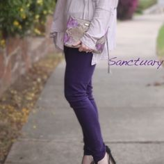 Sanctuary DENIM the Charmer skinny jean 26 Brand New, never worn Sanctuary DENIM the Charmer skinny jean. True purple. Size 26. 13.5 waist. 30' Inseam  4.5' leg opening. Smoke free home. I do have puppies. Please use the offer button for all offer. Thanks  Sanctuary Jeans Skinny