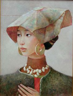 Xue Mo (b. Mongolia): title unknown [woman in costume]. Oil on canvas.