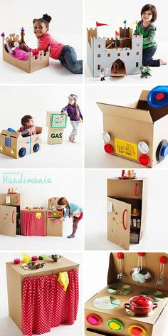 Cardboard Boxes into Kid Crafts/Toys! Cardboard boxes-A world of imagination.Cardboard boxes-A world of imagination. Recycle Cardboard Box, Cardboard Box Crafts, Cardboard Toys, Cardboard Box Ideas For Kids, Cardboard Kitchen, Cardboard Playhouse, Cardboard Box Houses, Cardboard Dollhouse, Paper Toys