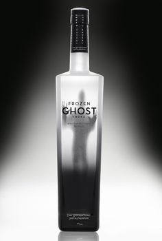 """The frozen ghost is the latest product in the vodka marketplace. The packaging of this bottle mirrors the name of the drink and product. It is a frost like white/black tall glass bottle with the silhouette of a ghost. The product's name is printed in bold black text which is placed in front of the ghost silhouette with """"the supernatural super premium"""" text on the bottom in white.Designed by Frozen Ghost Vodka"""
