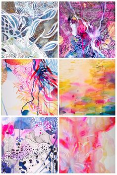 Colourful patterned details from abstract paintings by Helen Wells that are inspired by organic and natural shapes #abstractart