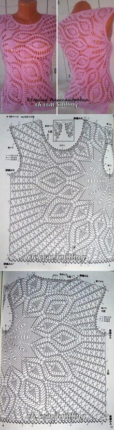 Асимметричный топ крючком. Схемы Débardeurs Au Crochet, Crochet Jumper, Hippie Crochet, Crochet T Shirts, Crochet Woman, Crochet Chart, Love Crochet, Crochet Clothes, Crochet Flowers