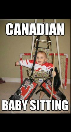 Hockey baby starting early - Hockey baby starting early Nothing like a hockey baby Funny Hockey Memes, Hockey Quotes, Hockey Puns, Funny Memes, Canadian Memes, Canadian Things, Canadian Humour, Hockey Baby, Hockey Goalie