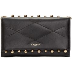 Lanvin Black Leather Sugar Pearls Clutch (€720) ❤ liked on Polyvore featuring bags, handbags, clutches, black purse, black studded handbag, black clutches, pearl clutches and black quilted handbag