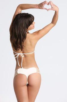 2015 Bettinis Swimwear Smocked Triangle Top in Bone | www.ishine365.com