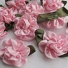 10x Pink Satin Ribbon Flowers With Leaf Sewing Wedding Crafts Appliques JOA01-3 - http://sewingpins.net/sewing/notions/10x-pink-satin-ribbon-flowers-with-leaf-sewing-wedding-crafts-appliques-joa01-3/