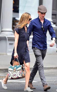 Eddie Redmayne and Hannah Bagshawe in Soho, NYC, May 5, 2015. (Alo Ceballos/GC images)