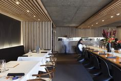 concrete ceiling with timber detail