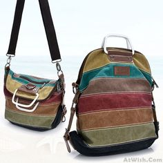 Retro School Multifunction Backpacks Shoulder Bag Handbag Splicing Colorful Striped Canvas Backpack