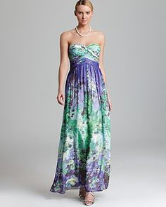 Aqua strapless gown - floral print