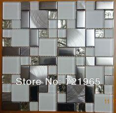 Glass mosaic kitchen backsplash tile SSMT104 silver stainless steel metal mosaics crystal white glass mosaic wall tiles