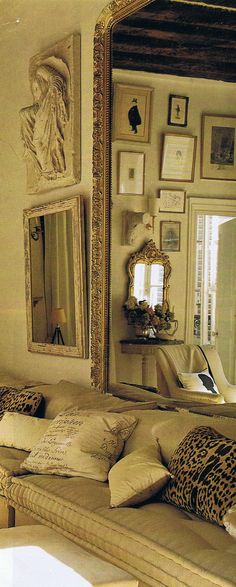multiple mirrors and interesting variety of pillows