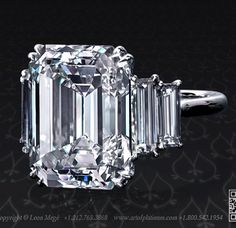 Amazing Emerald cut diamond with side baguettes - such a classic!