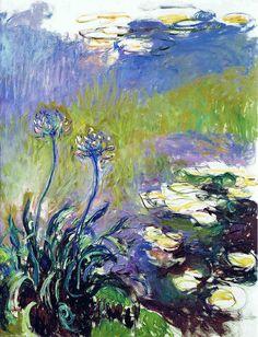 Agapanthus: 1914-17 by Claude Monet (Marmottan Monet Museum, Paris, France) - Impressionism