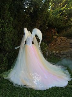 Angelic Rainbow Bridal Gown and Wings back view by Firefly-Path on DeviantArt - Cosplaystyle Ideas Women Pretty Dresses, Beautiful Dresses, Bridal Gowns, Wedding Gowns, Accessoires Photo, Fantasy Gowns, Rainbow Wedding, Fairy Dress, Creation Couture