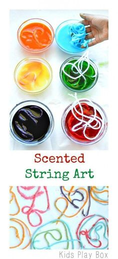Use yarn to create an open ended scented art project
